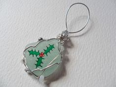 Holly & berries - Hand painted sea glass Christmas tree decoration
