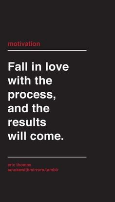 Fall in love with the process.....