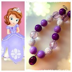 Sofia the First Inspired Amulet Chunky Beaded Necklace