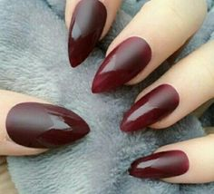Almond matte and shiny tips wine nails