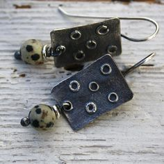 Sterling silver and jasper earrings