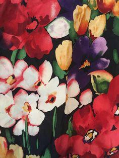 Vintage-ECHO-Floral-Spring-Flowers-Tulips-oblong-Silk-Scarf-49-Long-11-Wide