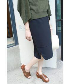 SLOBE IENA(スローブイエナ)のミリオーネストレッチスカート◆(スカート)|ネイビー