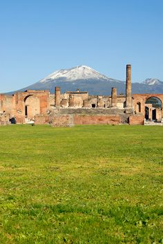 The Forum and Temple of Jupiter with Snow-Capped Mt Vesuvius Volcano in Background, Pompeii, Italy | Petr Svarc Images