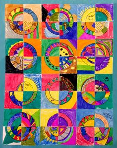 Quilt Circle Art for Kids · Art Projects for Kids Art Lessons For Kids, Art For Kids, Deco Wedding Cake, Class Art Projects, Collaborative Art Projects For Kids, Group Projects, Paper Quilt, Quilt Art, Ecole Art
