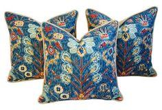 Lee Jofa Linen &  Velvet Pillows, S/3
