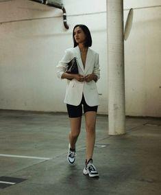Striped Button-Front Blazer - Biker shorts & blazer outfit / biker shorts inspo / dad sneakers / balenciaga sneakers / white blazer outfit Source by nazyfarnoosh - Look Fashion, Fashion News, Fashion Outfits, Womens Fashion, Blazer Fashion, Bike Fashion, Fashion Videos, Fashion Websites, Fashion 2018