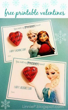 Disney's Frozen Free Printable Valentines (Anna and Elsa) Disney's Frozen Free Printable Valentines (Anna und Elsa) Disney Valentines, Valentines Day Party, Valentines For Kids, Valentine Day Crafts, Valentine Ideas, Naughty Valentines, Printable Valentine, Homemade Valentines, Valentine Wreath
