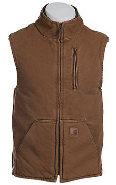 Carhartt® Brown Sandstone Lined Mock-Neck Vest  a708a7341b935