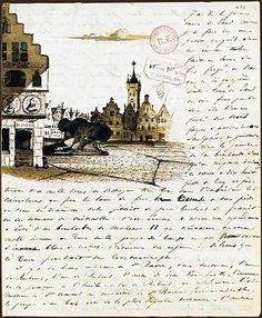 Letter by Victor Hugo to his wife, with a drawing of Place de Gand