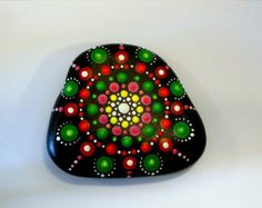 Boho chic decor-Hippie dot art-mandala by RockArtiste on Etsy