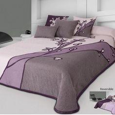 Couvre-Lit Réversible BELLIS (Lit 2 personnes) Bed Runner, Bed Cover Design, Designer Bed Sheets, Rideaux Design, Cool Curtains, Home Room Design, Diy Bed, Double Beds, Bed Covers