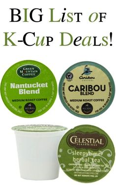 BIG List of K-Cup Deals ~ as low as 46c each + FREE Shipping! #coffee #kcups #thefrugalgirls