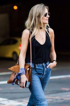 black tank + jeans + bandana + choker