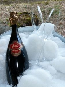 Gosset - one of my favourite champagnes, cooling in the snow.