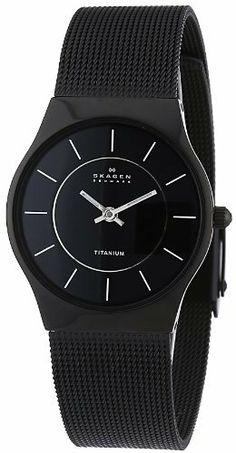 Skagen Women's Titanium Black Dial and Black Mesh Watch 233STMB Skagen. $63.99. Case diameter: 28 mm. Mineral crystal. Titanium case; Black dial. Quartz movement. Water-resistant to 99 feet (30 M). Save 39%!