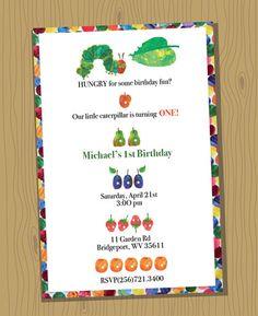 VERY HUNGRY CATERPILLAR custom birthday invitation - digital file, you print - 5x7