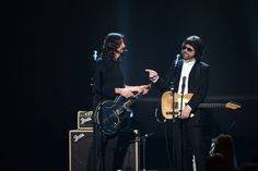 Jeff Lynne Recording artists Dave Grohl (L) and Jeff Lynne perform onstage during 'The Night That Changed America: A GRAMMY Salute To The Be...