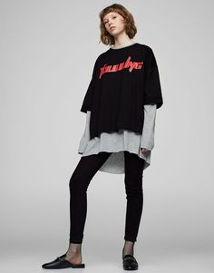 :Superimposed text sweatshirt
