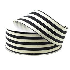 Striped Cotton Ivory Ribbon, 1-1/2-inch, 25-yard (Black) * Learn more by visiting the image link.