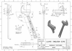 Planos ...con ciri: LLAVE INGLESA Mechanical Projects, Mechanical Engineering Design, Mechanical Design, Autocad, Solidworks Tutorial, 360 Design, Scroll Saw Patterns Free, Geometric Drawing, Concept Diagram