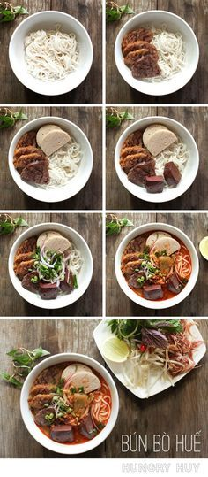 Bún Bò Huế Recipe – A delicious, spicy beef & pork noodle soup from the Hue region. How to make this soup, step by step! | http://www.hungryhuy.com/bun-bo-hue-recipe/