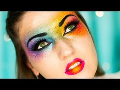 OMG Neon Rainbow Makeup ♥ Bright Colors!! - YouTube