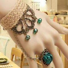 $5.77 Elegant Refreshing Beads and Rose Design Women's Knitted Hemp Rope Bracelet With Ring