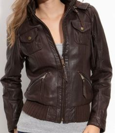 MICHAEL KORS Brown Leather Bomber  Jacket With Hood  Sz. L NWT  WOW!