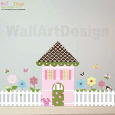 White Picket Fence - Wall Decal Custom Vinyl Art Stickers for Nurseries Kids Rooms Classrooms Hallway Decor | Pinterest | White picket fence ...  sc 1 st  Pinterest & White Picket Fence - Wall Decal Custom Vinyl Art Stickers for ...