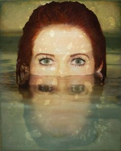 Boston-based artist Jessica Dunegan creates surreal mixed media paintings of women who appear to be trapped underwater.