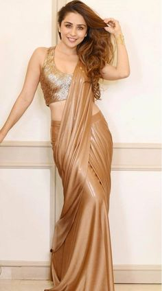 Buy Brown Lycra Designer Saree With Sequins Beautiful Girl Indian, Most Beautiful Indian Actress, Beautiful Saree, Beautiful Models, Indian Beauty Saree, Indian Sarees, Golden Saree, Saree Models, Desi Models