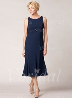 Trumpet/Mermaid Scoop Neck Tea-Length Ruffle Beading Chiffon Zipper Up Regular Straps Sleeveless Yes Dark Navy Spring Summer Fall General Mother of the Bride Dress