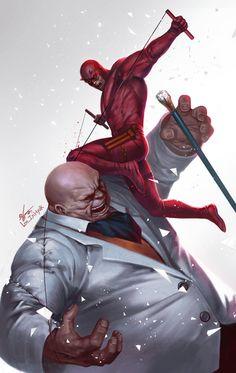 Daredevil vs Kingpin by In-Hyuk Lee