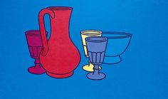 Coloured Still Life  by Patrick Caulfield.  Date painted: 1967.  Acrylic on board, 56 x 89 cm  Collection: Pallant House Gallery  In 1967 Editions Alecto commissioned a set of six screenprints on a still-life theme. Caulfield produced full-size colour models on card, including this painting, from which the printer Chris Prater at the Kelpra Studio cut stencils for the screens.