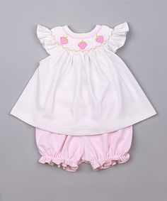 Look what I found on #zulily! White & Pink Strawberries Smocked Pima Dress & Bloomers - Infant by Hug Me First #zulilyfinds
