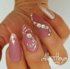 Beautiful matte mauve pink almond nails with glitter, hand painted swirls and rhinestones by Ugly Duckling Nails page is dedicated to promoting quality, inspirational nails created by International Nail Artists Rhinestone Nails, Bling Nails, Stiletto Nails, Glitter Nails, Pink Glitter, Nail With Rhinestones, Fancy Nails, Trendy Nails, Cute Nails