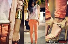 orange skinny jeans. Graphic t.