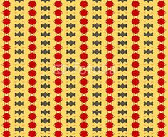 Pattern combining different geometries in red and grey on yellow background