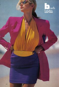 Beach Brights, Vogue US, late 80sPhotographer: Rico PuhlmannModel: Ashley Richardson