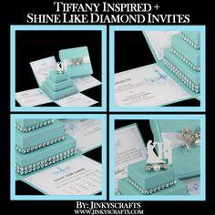 Tiffany inspirado invitación, invitación de boda con temática de Tiffany, Quinceañera caja invitación, Sweet 16 caja invitación