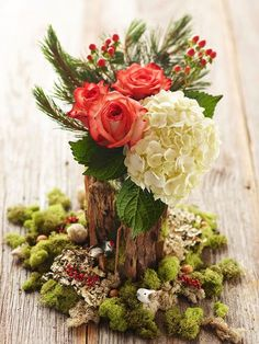 Pretty Christmas Flower Arrangements Mini Woodland Setting with Roses & Hydrangea