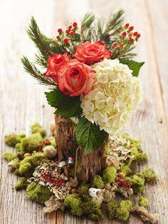 Pretty Christmas Flower Arrangements Mini Woodland Setting with Roses & Hydrangea