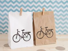 Paper party favor bag - lunch bag - with bicycle print