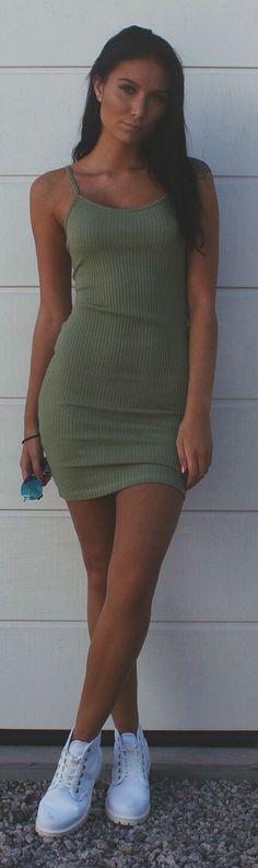 Emilia Angergard Olive Bodycon Ribbed Cami Dress