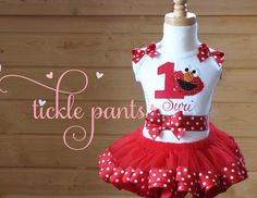 Elmo Birthday Tutu Collection- Red polka dots- Includes top, tutu hairbow- Available in many colors or characters to match your party on Etsy, $63.99