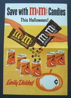 """m&m's candies VINTAGE ADVERTISEMENTS FOR HALLOWEEN"""" I love the illustration and the graphic of retro advertisement, always make me smile! So i selected for you 40 vintage ads for Halloween. Hope you will enjoy! Vintage Halloween Images, Retro Halloween, Vintage Halloween Decorations, Halloween Displays, Halloween Candy, Holidays Halloween, Haunted Halloween, Happy Halloween, Halloween Queen"""