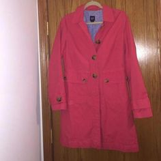 One small spot on the front (picture number three), otherwise, perfect condition. Two spare buttons GAP Jackets & Coats Trench Coats Raincoats For Women, Jackets For Women, Pink Trench Coat, Trench Coats, North Face Rain Jacket, Hooded Raincoat, Yellow Raincoat