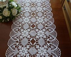 lace table cloth,table runner,white doily,crochet doily,crochet rectangular doily,lace doily,crochet rug,floral doily,lace tablecloth