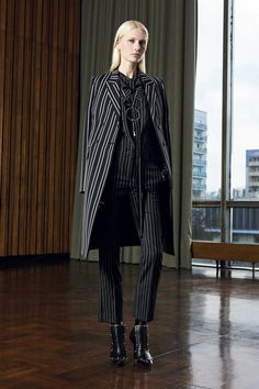 Givenchy Pre-Fall 2016 Fashion Show.  Suit, Pinstripes.